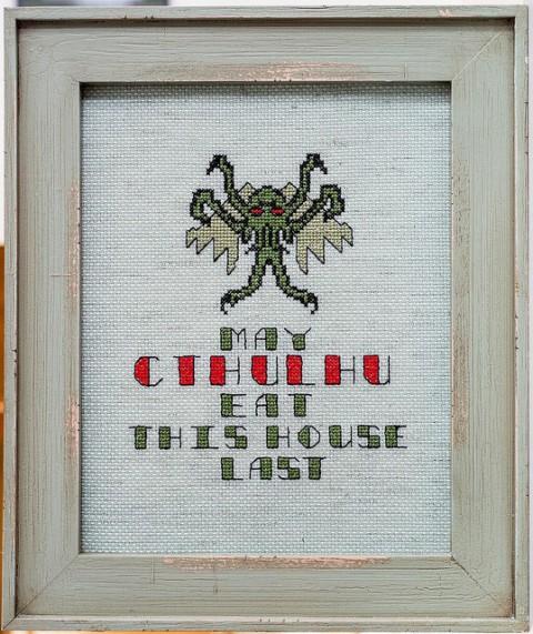 Cthulhu Cross Stitch Sampler