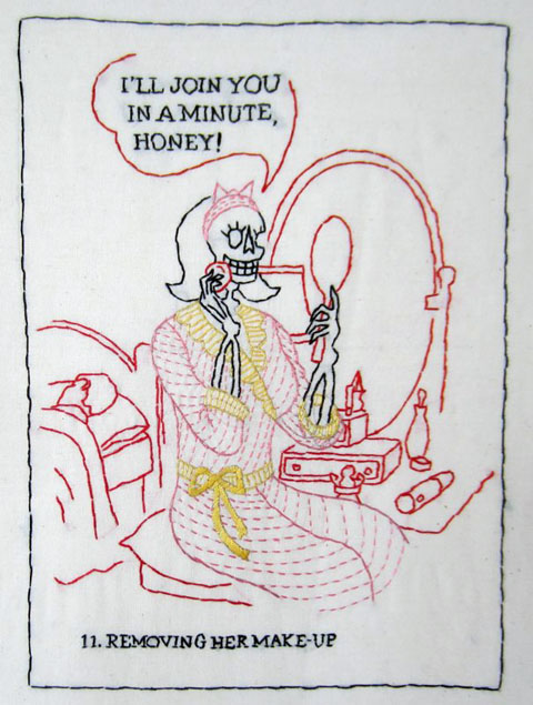 Mary Mazziotti - A Day In The Life of Mrs Death - Removing The Makeup - hand embroidery