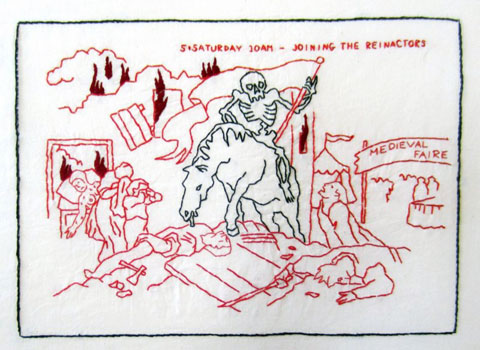 Mary Mazziotti - Death's Weekend - Joining the Reinactors - hand embroidery