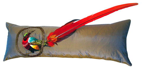 Tara Badcock - Exotic Bird Piece de Resistance, (2009) Hand Embroidered Bird on French Silk Taffeta, Gold Braid, Macaw Feathers, Feather Insert