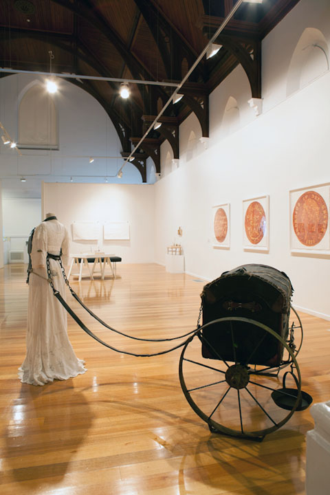 Tara Badcock - Installation Views of 'Trousseau' (2013) Textile and Mixed Media sculpture for FELT PRESENCE exhibition,
