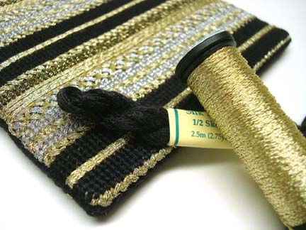 Gold and silk threads