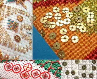 Stitched samples using real-metal paillettes
