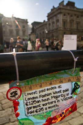 Craftivist Collective's London Fashion Week Mini Protest Banner