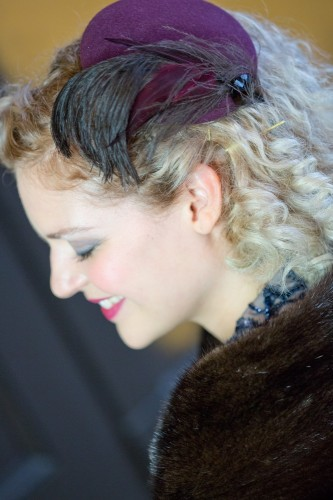 Emily Moe - Burgundy Velour Felt Button Fascinator With Ostrich, Dyed Coq Feathers And Jet Button