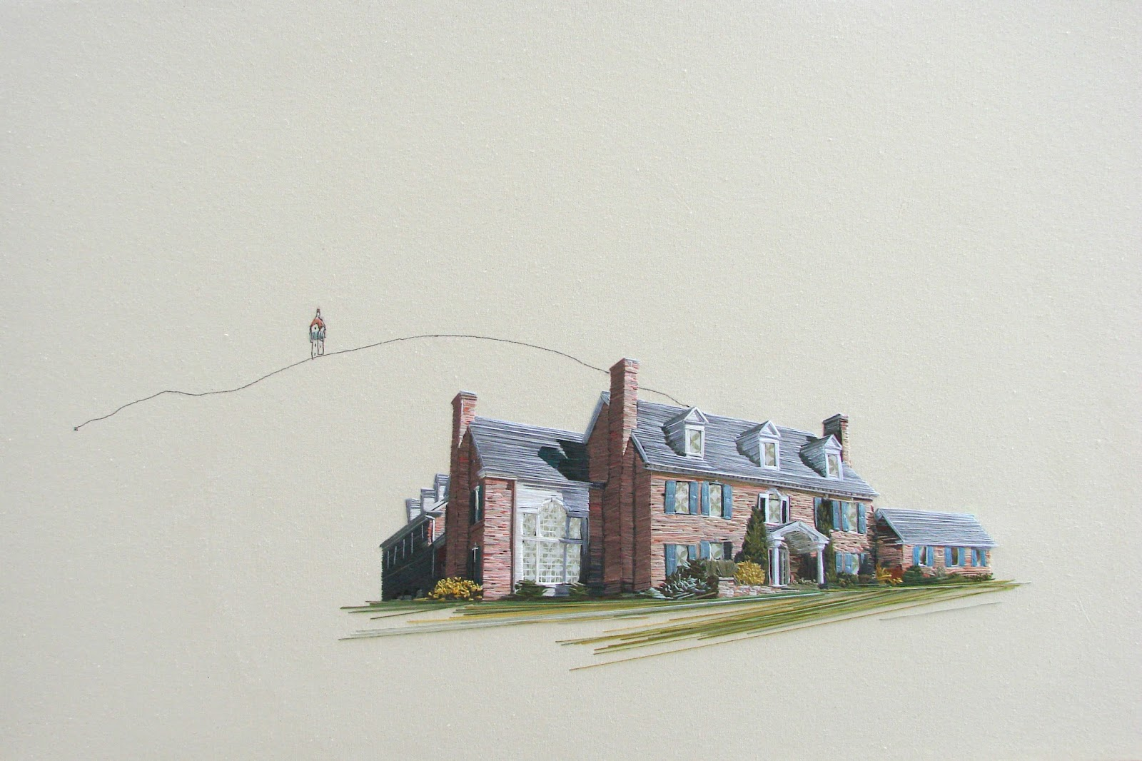 Stephanie Clark - Droppo Dwellings - Hand Embroidery on Canvas
