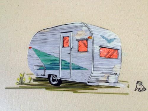 Stephanie Clark - Strawbridge Dwelling - Hand Embroidery on Canvas