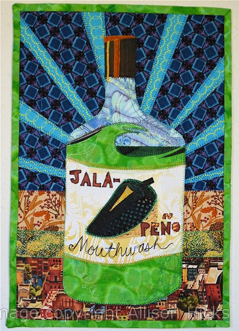 Allison Hicks - Jalapeno Mouthwash - Applique Art Quilt (2012)