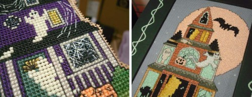 Haunted houses get another layer of fun with the addition of glow-in-the-dark threads for cross stitching and backstitching. (Kreinik brand used here)