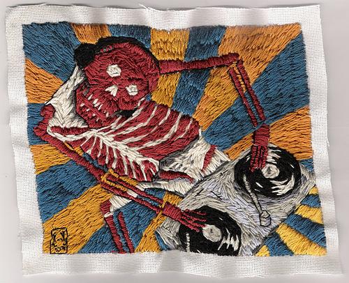 William Schaff - Whiskey Mit Cola, Please. Hand embroidery. 2007.