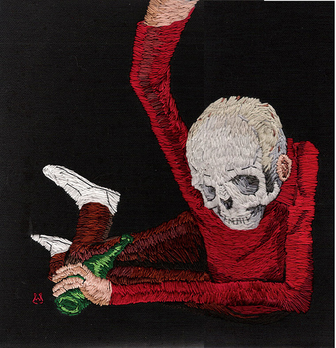 William Schaff - Under the Quicksand. Hand embroidery on black cotton. 2008.