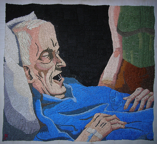 William Schaff - Cancer. Hand embroidery on cotton. 2010