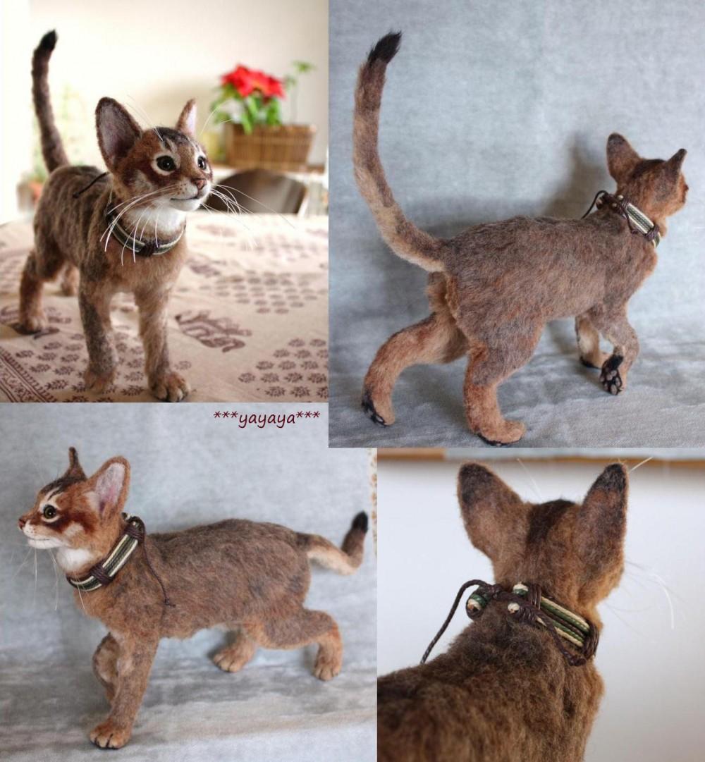 felt cat by ***yayayay*** needle felted cats