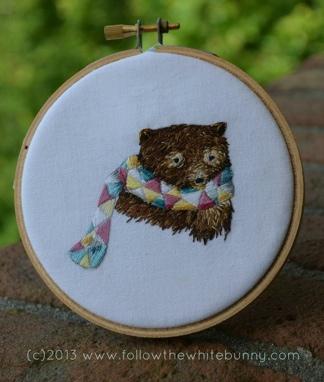 Boris Bear, hand embroidery.