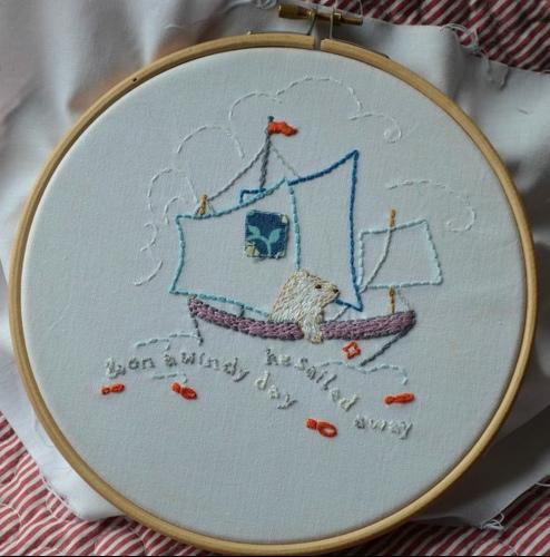 Polar Bear, hand embroidery.