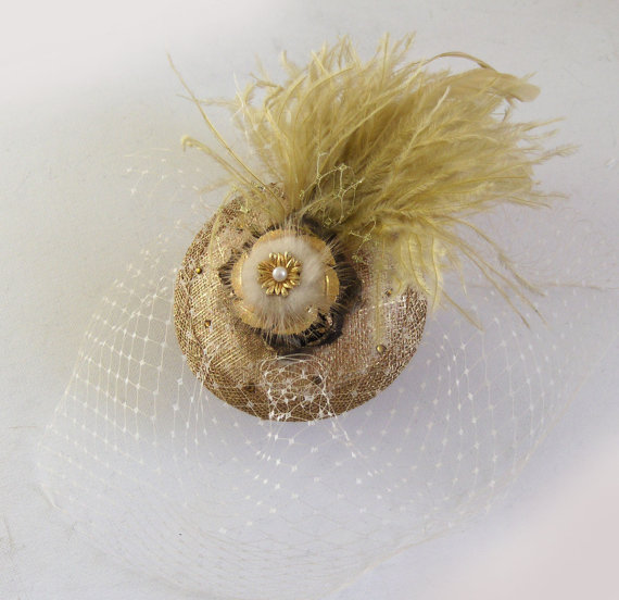Etsy talulahblue Gold feather and brooch cocktail hat