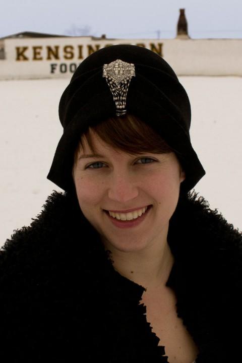 Etsy HorsefeatherHats Black Felt Hat with Bead-work Detail: Regal.