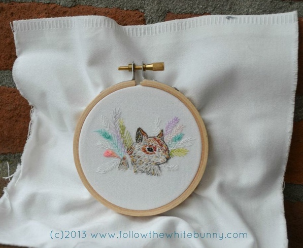 Bird the Squirrel, hand embroidery.