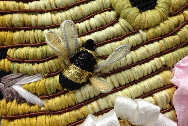 Dimensional bee from a needlepoint canvas by Melissa Shirley Designs