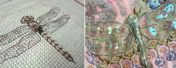 Padded stitches create dimensional bodies in these dragonfly designs.