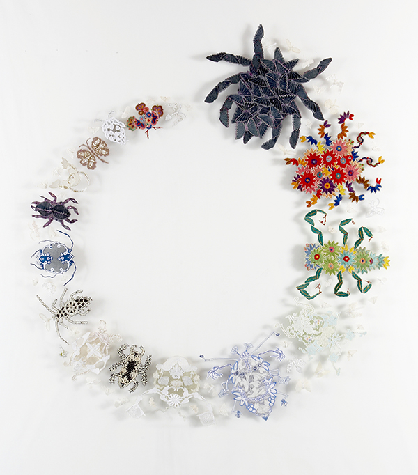 'reCollection – specimens 1-67', 2008 Reclaimed needlework, silk, lace pins, nylon tulle