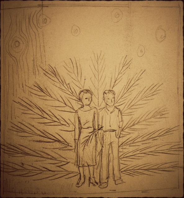 "Sketch for, ""The last constellations of stars fell in bunches."""
