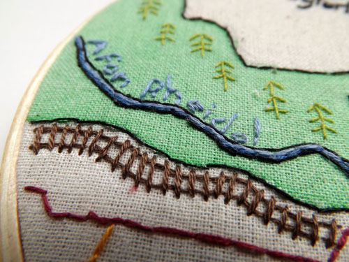 Devils Bridge (detail) by Alex Hughes (Hand embroidery)
