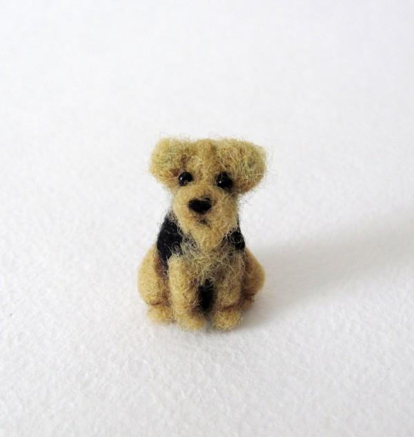 Handmade by November, needle felted dog