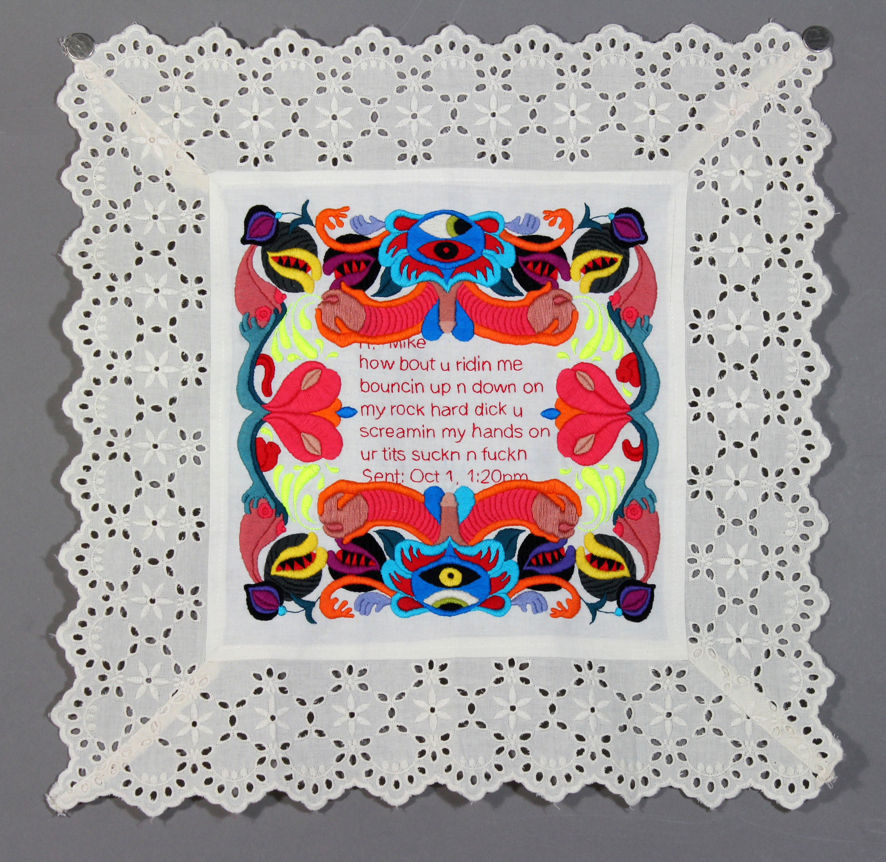 Kathyrn Shinko - Dirty Sampler Series - how bout u ridin me - hand embroidery on cloth (2014)
