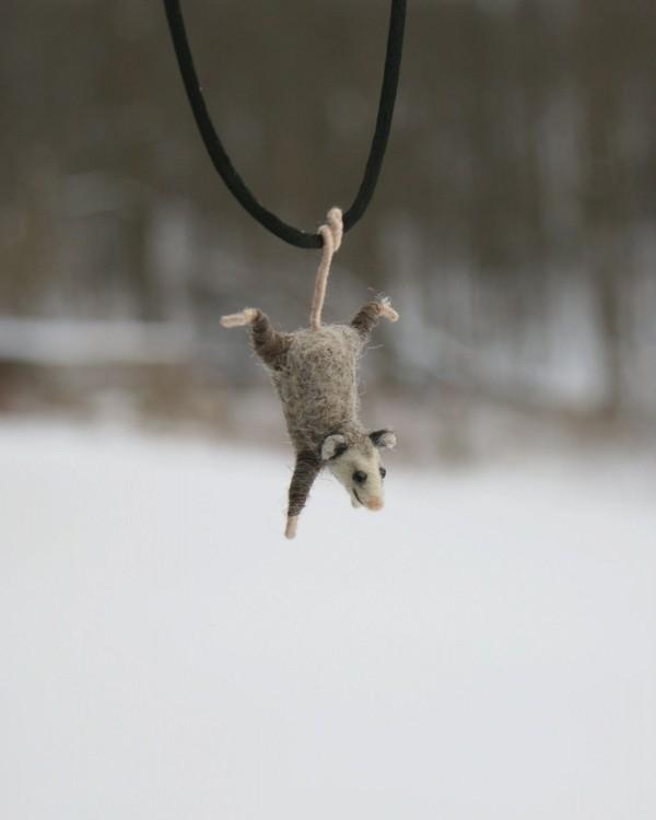 Motley Mutton, needle felted opossum