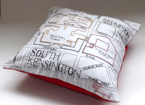 South Kensington Map Cushion by Alex Hughes (Hand and machine embroidery)
