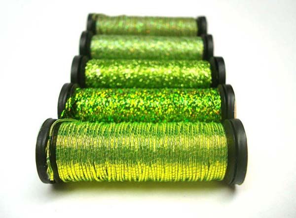 Chartreuse Kreinik metallic threads