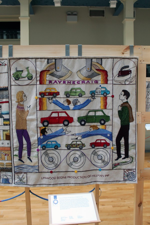 Hillman Imp panel at the Great Tapestry of Scotland