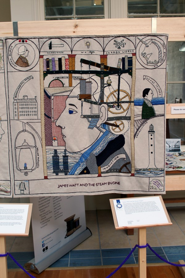 James Watt panel at the Great Tapestry of Scotland