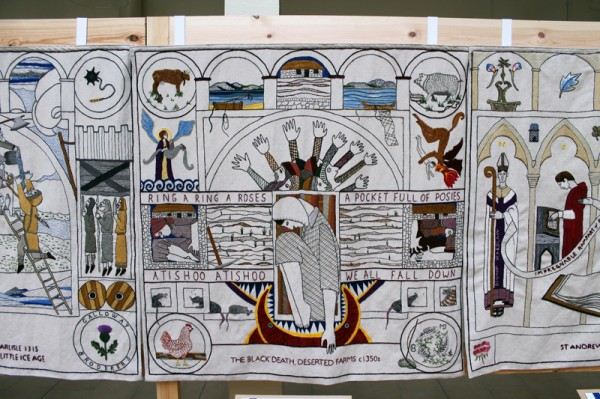 The Black Death panel at the Great Tapestry of Scotland