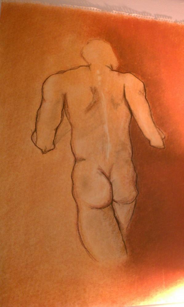 Pastel figure. Drawing by Victoria Crowder Payne.