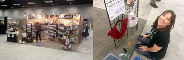 Dena (@kreinikgirl) and Courtney set up the Kreinik booth at TNNA Indy.