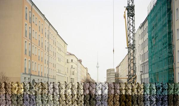 Diane Meyer - Bernauer Strasse - cross stitch on photograph