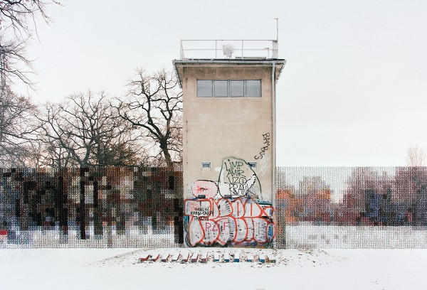 Diane Meyer - Former Guard Tower Off Puschkin Allee - cross stitch on photograph