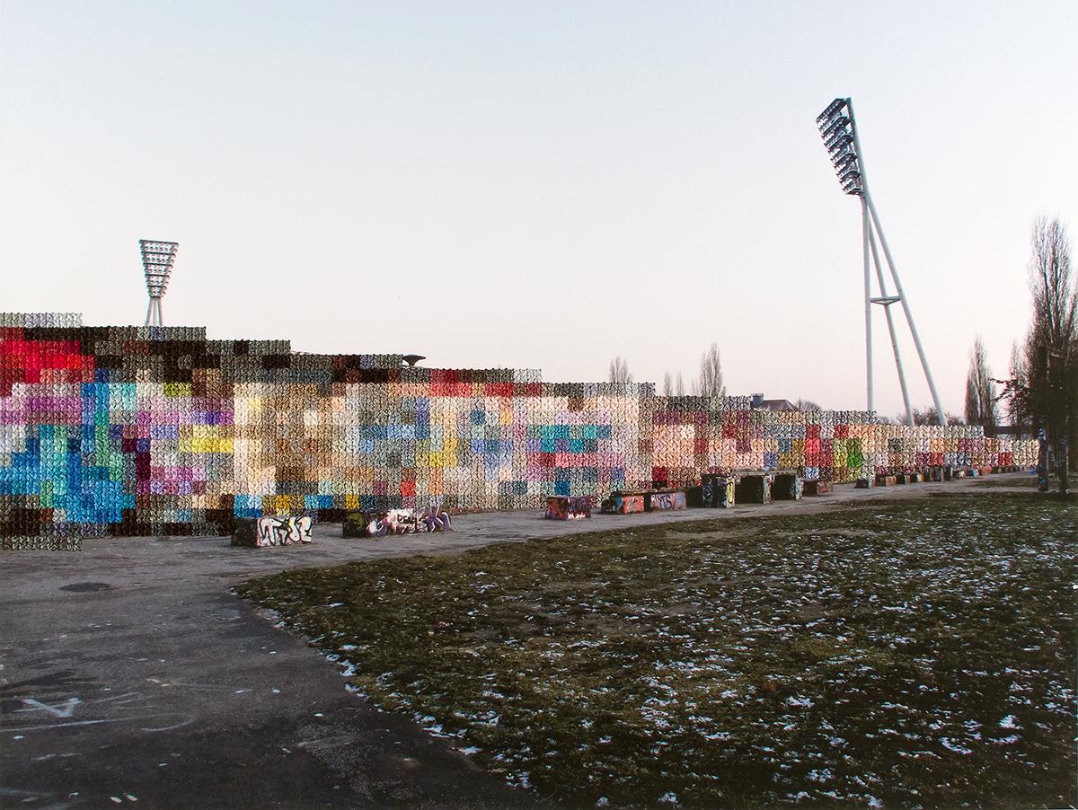 Diane Meyer - Mauer Park - cross stitch on photograph