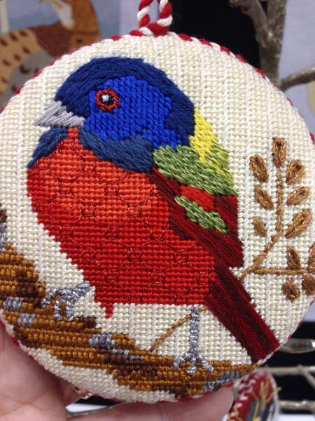 This needlepoint bird canvas by Melissa Prince Designs is a treasure trove of techniques: varying stitches, using color for shading, and using different kinds of threads for textures.