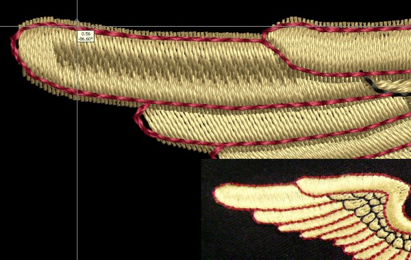 Pull compensation is explained through showing the extra width of a satin stitch intended to match a straight stitch outline on an embroidered wing.