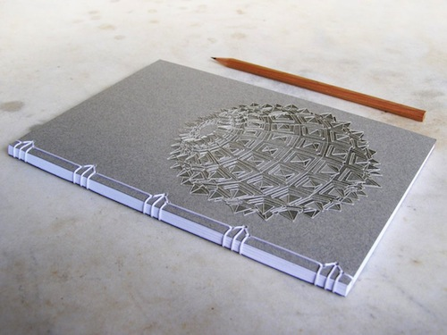 Sacred Geometry Notebook by Fabulous Cat Papers (Hand Embroidery)