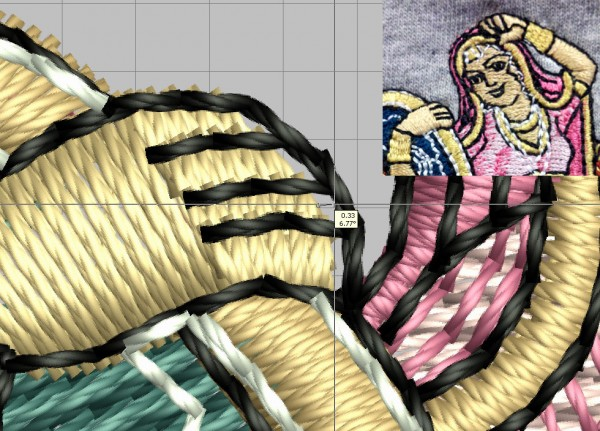 Image of the hand onf a woman in an embroidery design shows the amount of push compensation needed to achieve proper outline registration with an inste of the finished piece.