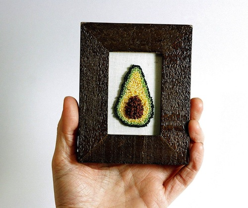 Framed Avocado by Harp and Thistle (Punchneedle embroidery)