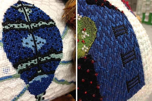 Gorgeous royal blue Kreinik metallic threads in Needlepoint: a Waterweave Designs canvas on the left, and a TS Designs canvas on the right.
