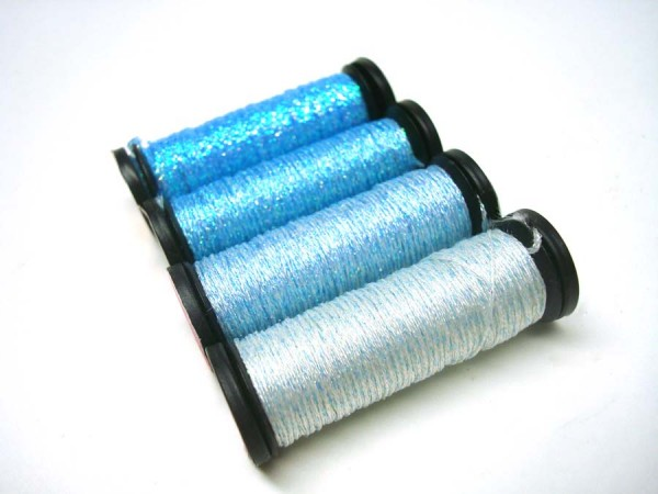 These bubble blue colors add a subtle shimmer to designs. Good water colors, baby themed designs, and blending with other colors. They come in Kreinik Braids and Ribbons.