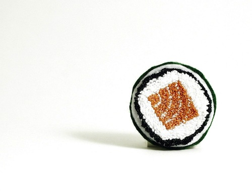 Faux Sushi Pin by Harp and Thistle (Punchneedle embroidery)