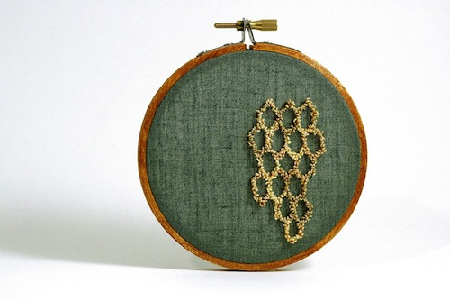 Honeycomb by Harp and Thistle (Punchneedle embroidery)