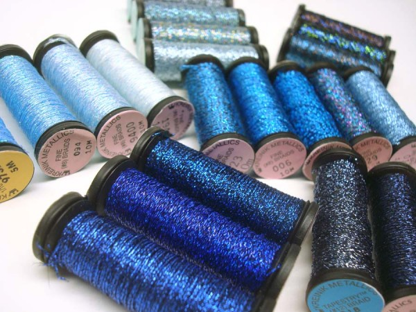 Range of blue metallic threads in the Kreinik Braids and Ribbons line, www.kreinik.com.